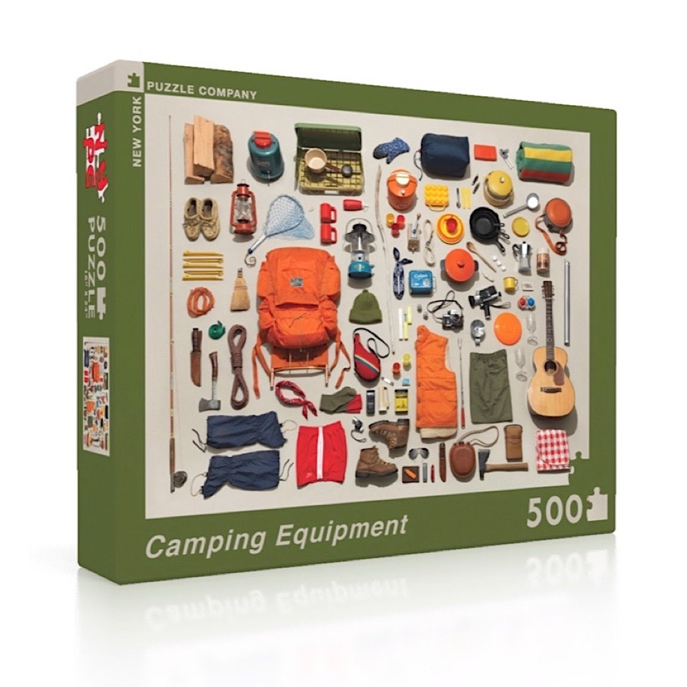 New York Puzzle Co - Camping Equipment - 500 Piece Jigsaw Puzzle