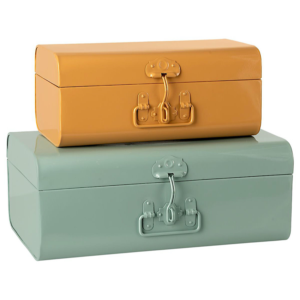 Maileg Storage Suitcases - 2 Piece Set - Small Yellow & Large Blue