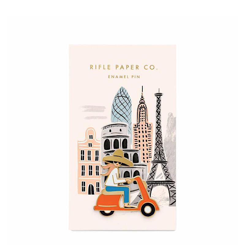 Rifle Paper Co. Enamel Pin - Scooter Girl