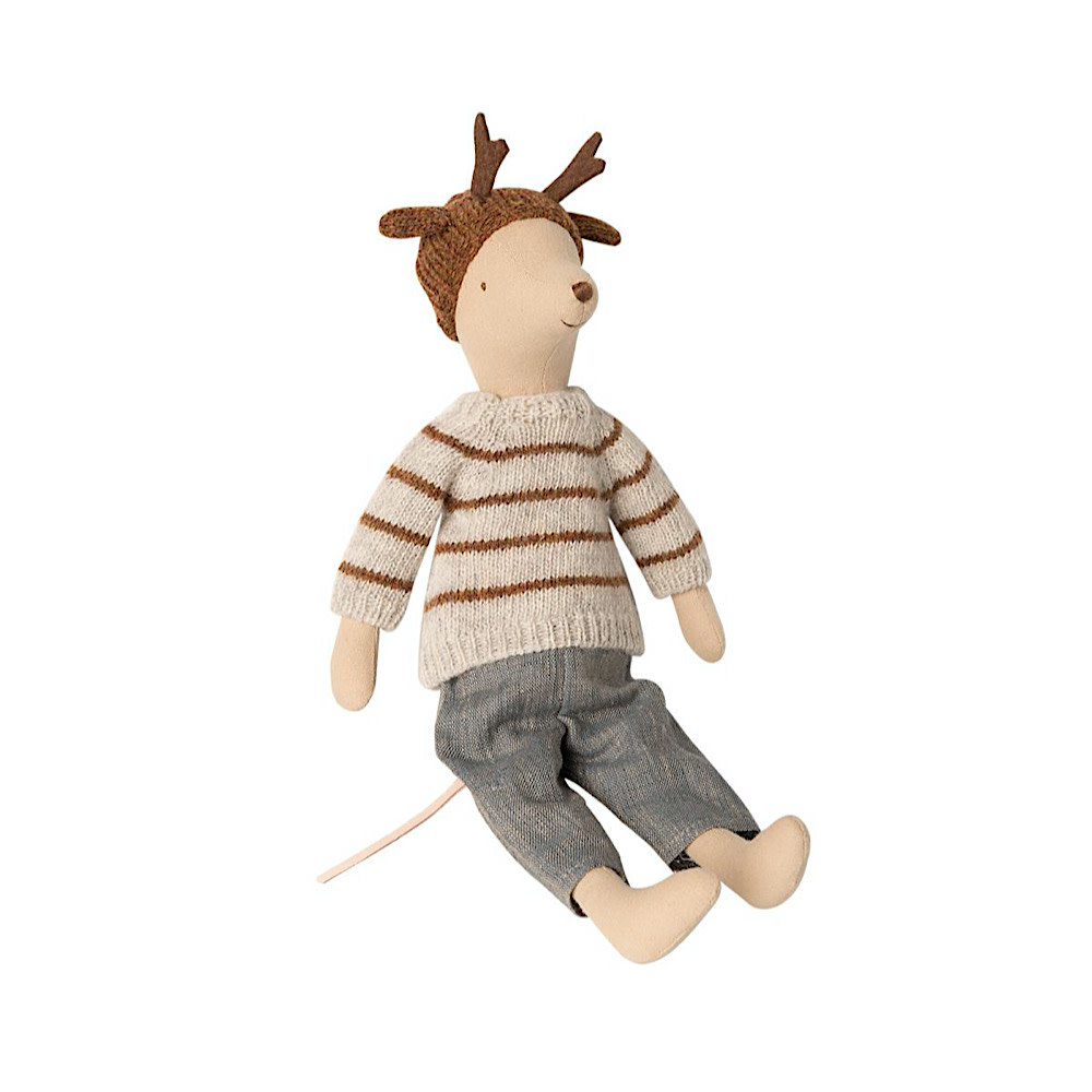 Maileg Mouse - Boy - Medium - Reindeer Hat