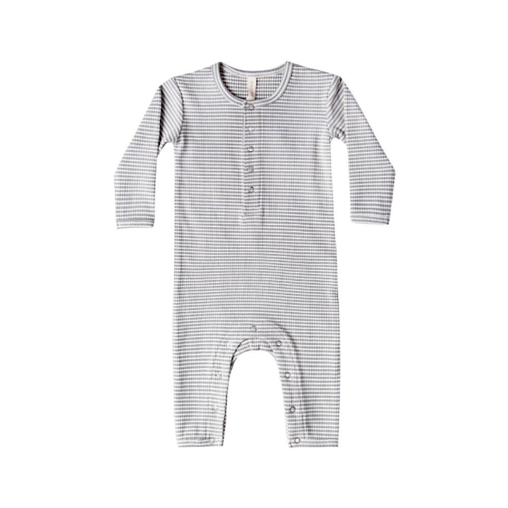Quincy Mae Quincy Mae Ribbed Baby Jumpsuit - Eucalyptus Strip
