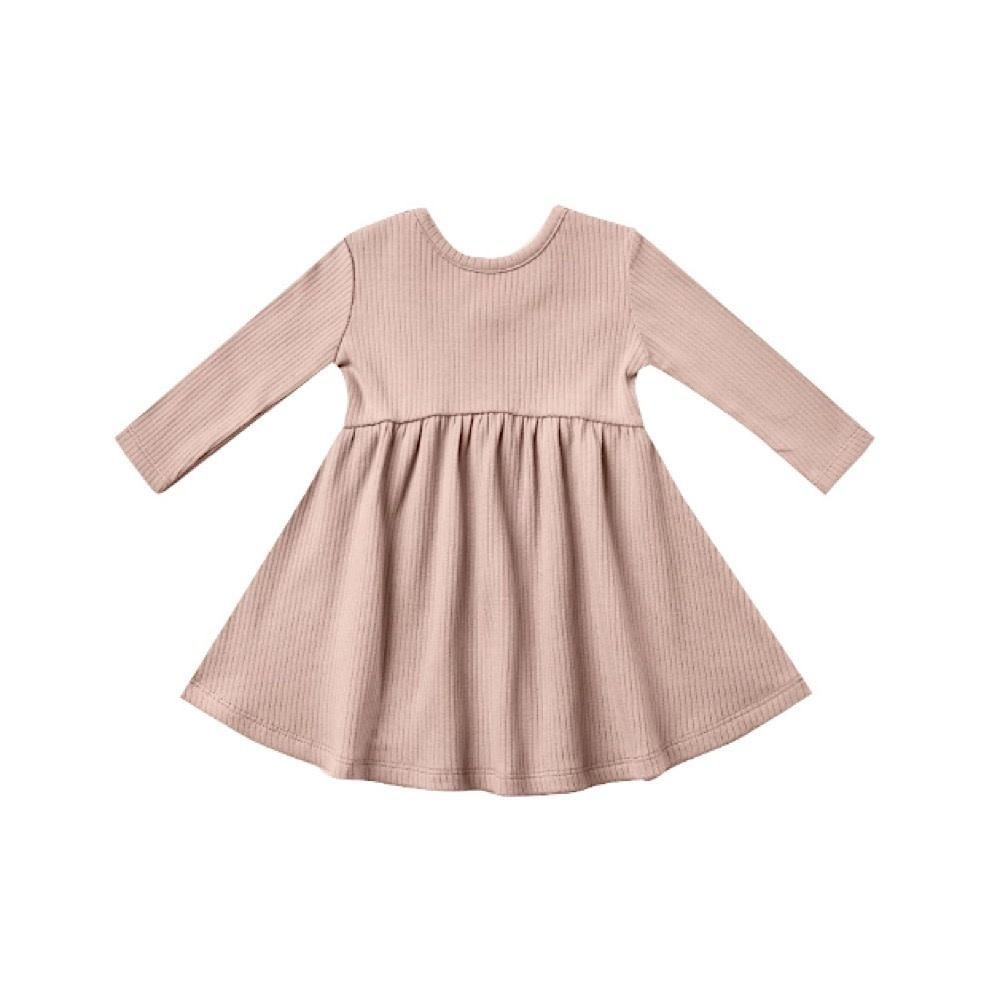 Quincy Mae Longsleeve Ribbed Dress - Petal