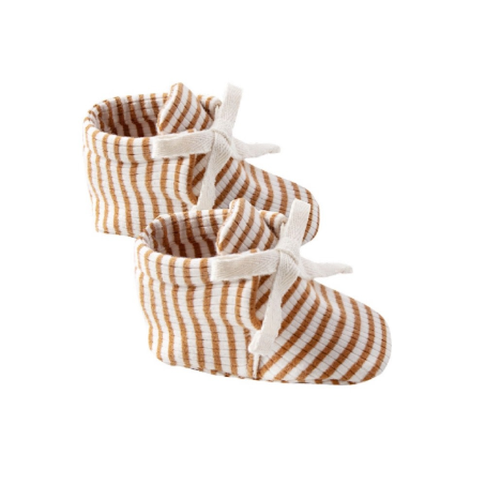 Quincy Mae Quincy Mae Baby Booties - Walnut Stripe