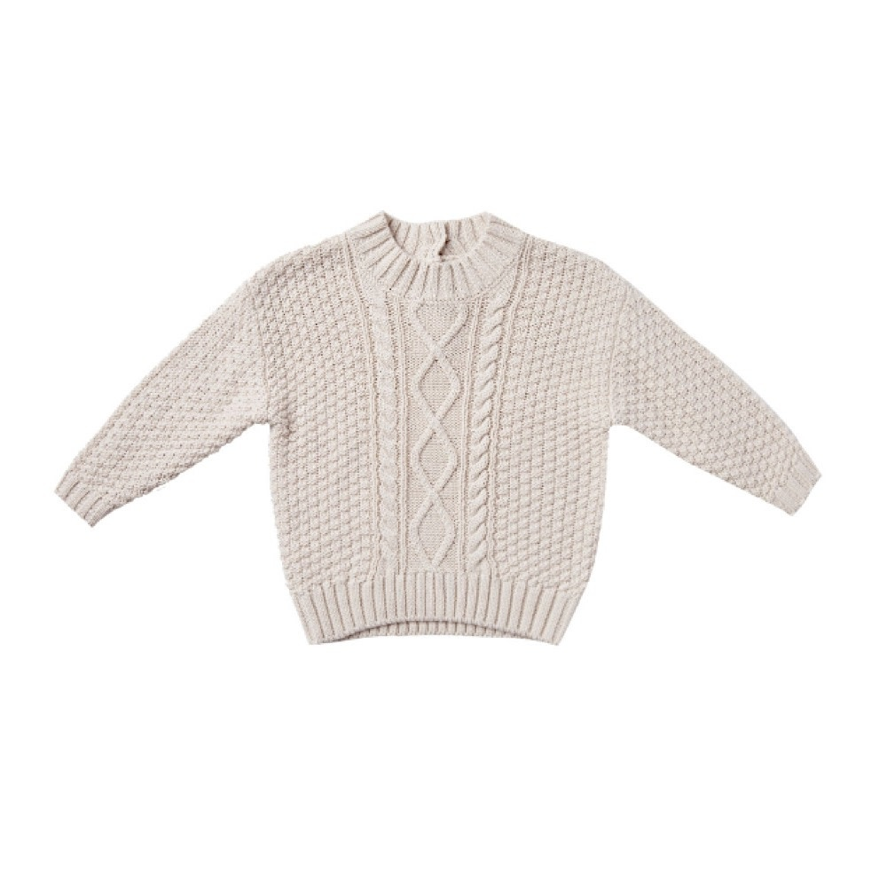 Quincy Mae Cable Knit Sweater - Pebble