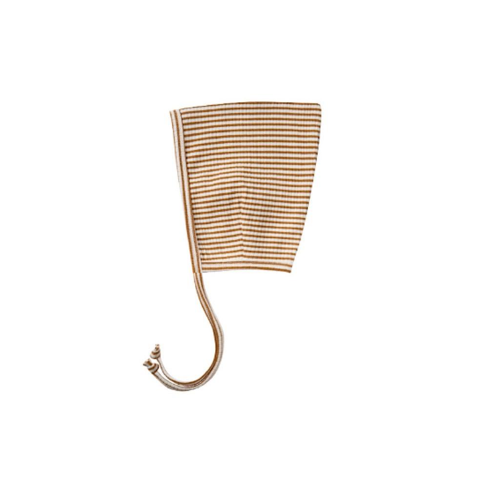 Quincy Mae Ribbed Pixie Bonnet - Walnut Stripe