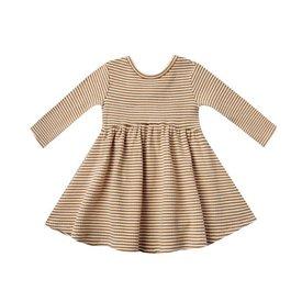 Quincy Mae Quincy Mae Longsleeve Ribbed Dress - Walnut Stripe