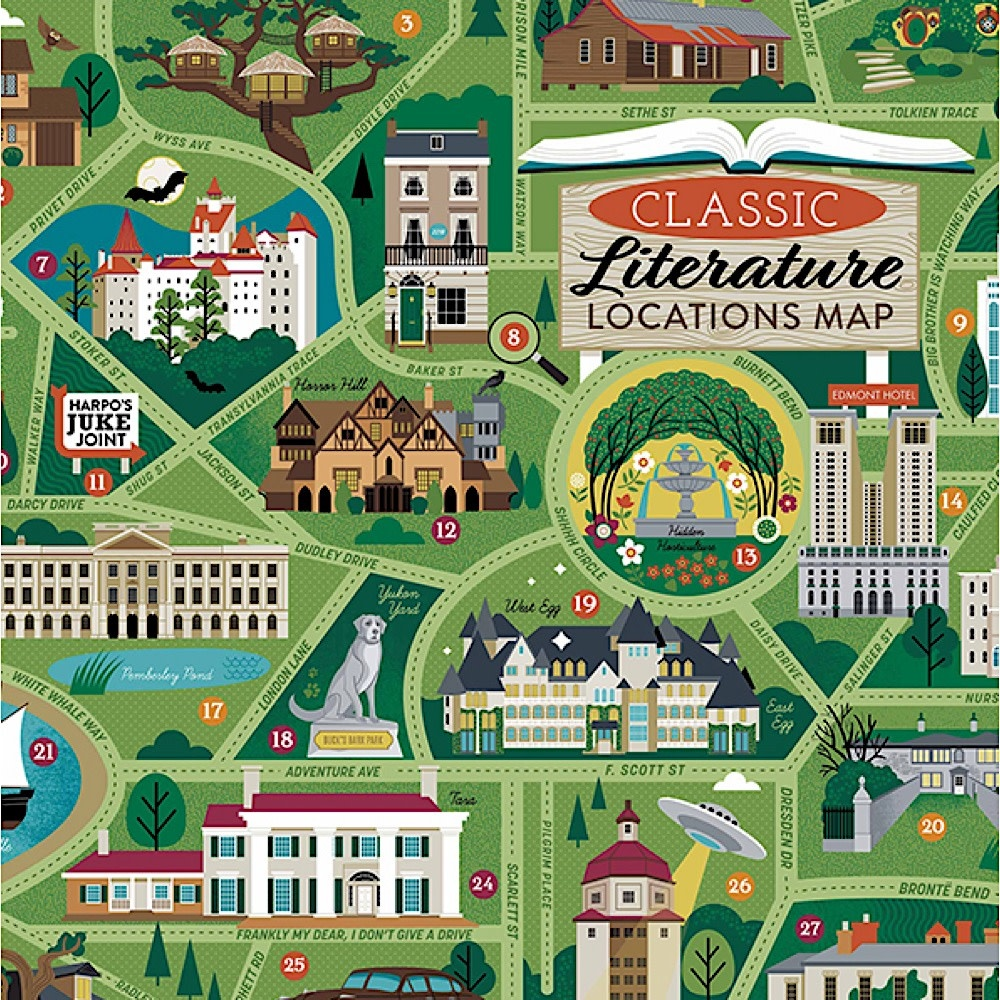 True South Puzzle Classic Literary Locations Map - 500 Pieces