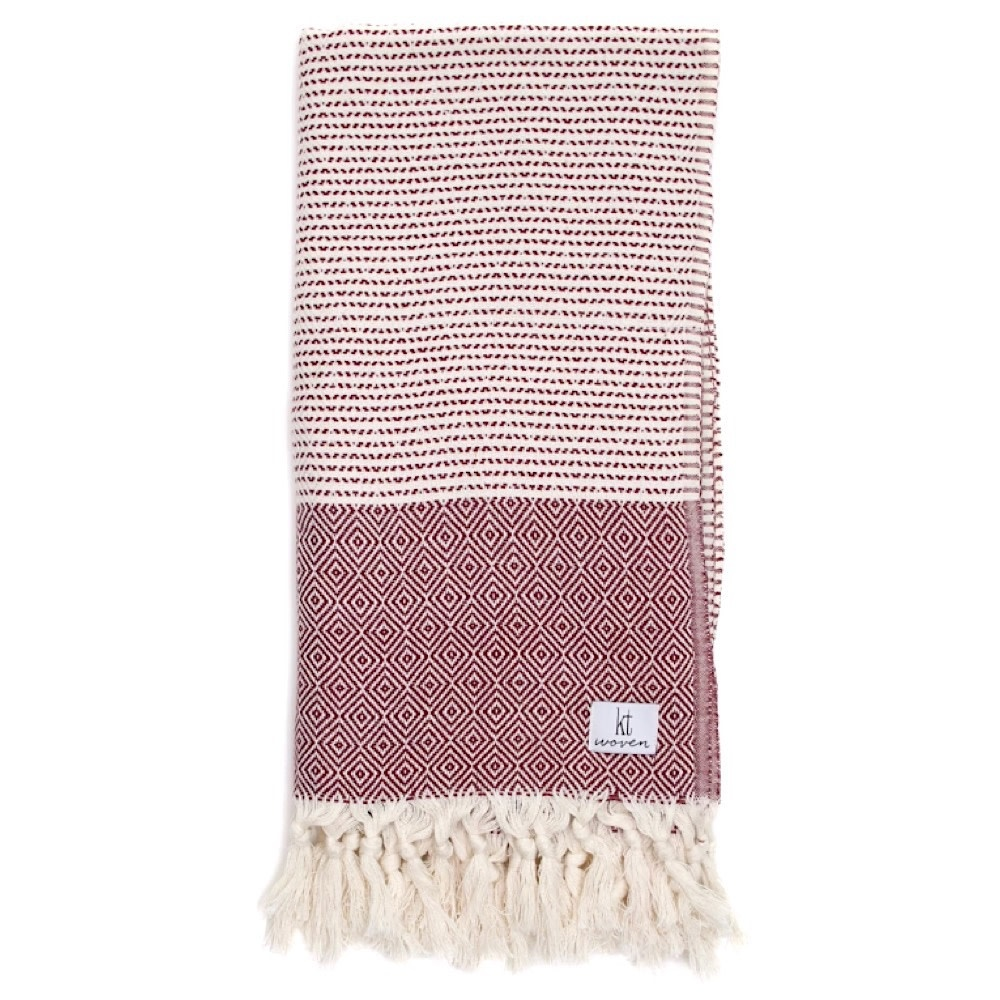 KT Woven - Soft Traditional Peshtemal Scarf - Burgandy