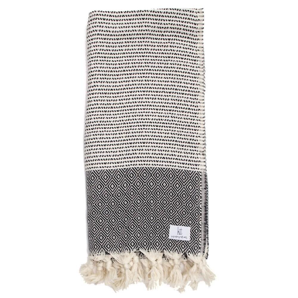 KT Woven KT Woven - Soft Traditional Peshtemal Scarf - Black