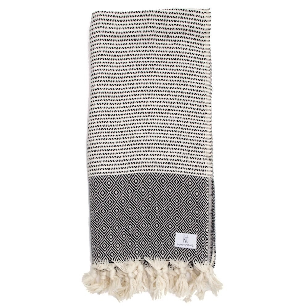KT Woven - Soft Traditional Peshtemal Scarf - Black