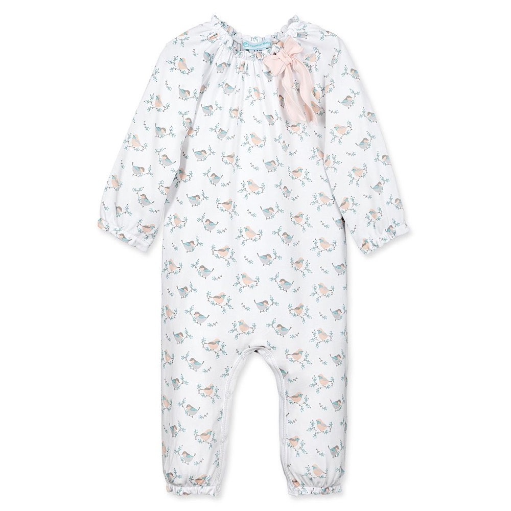 Feather Baby Bow Romper - Oriole on White