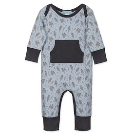 Feather Baby Feather Baby Organic Kangaroo Romper - Otters on Baby Blue