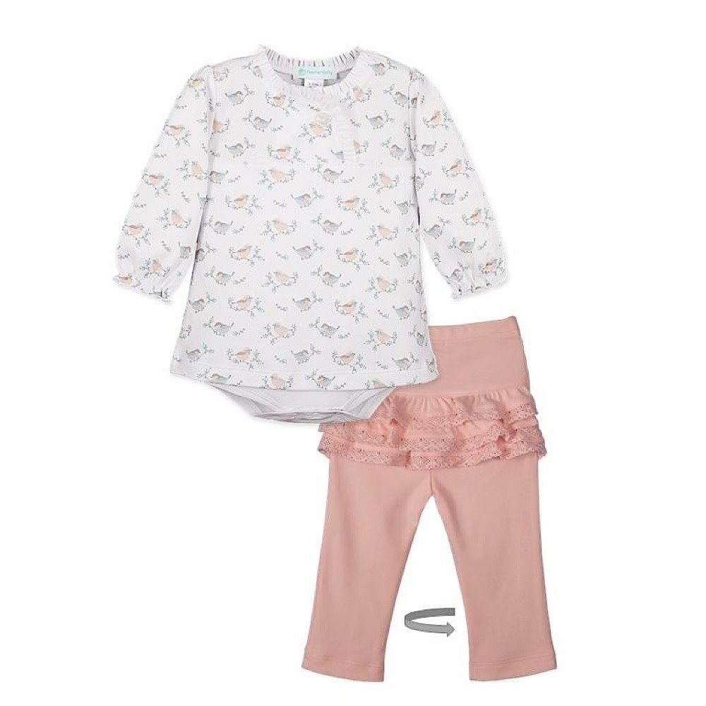 Feather Baby Feather Baby Crossover Twosie Set - Oriole on White