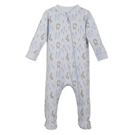 Feather Baby Feather Baby Zipper Footie - Foxy on Grey