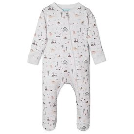 Feather Baby Feather Baby Zipper Footie - Dinosaurs on White