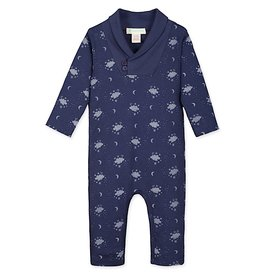 Feather Baby Feather Baby Shawl-Neck Romper - Night Sky on Indigo