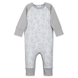 Feather Baby Feather Baby Sailor-Sleeve Romper - Deer & Appletrees - Baby Blue on White