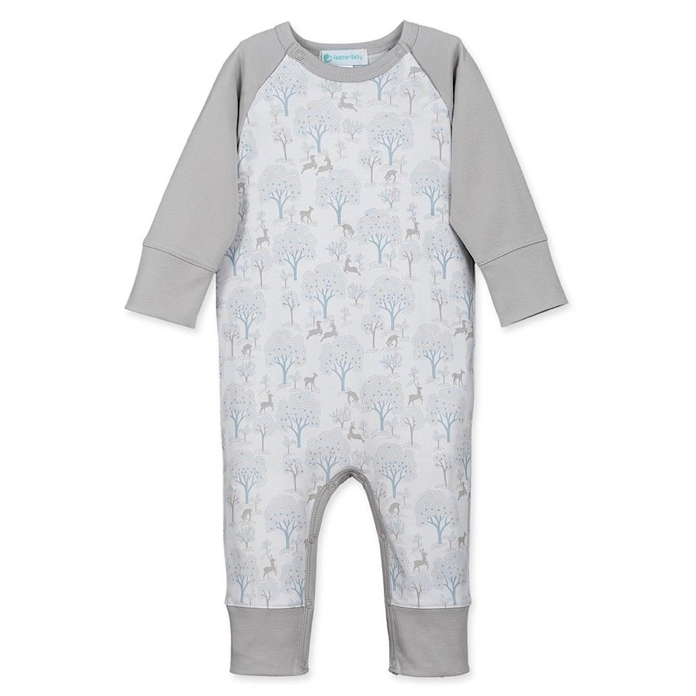 Feather Baby Sailor-Sleeve Romper - Deer & Appletrees - Baby Blue on White