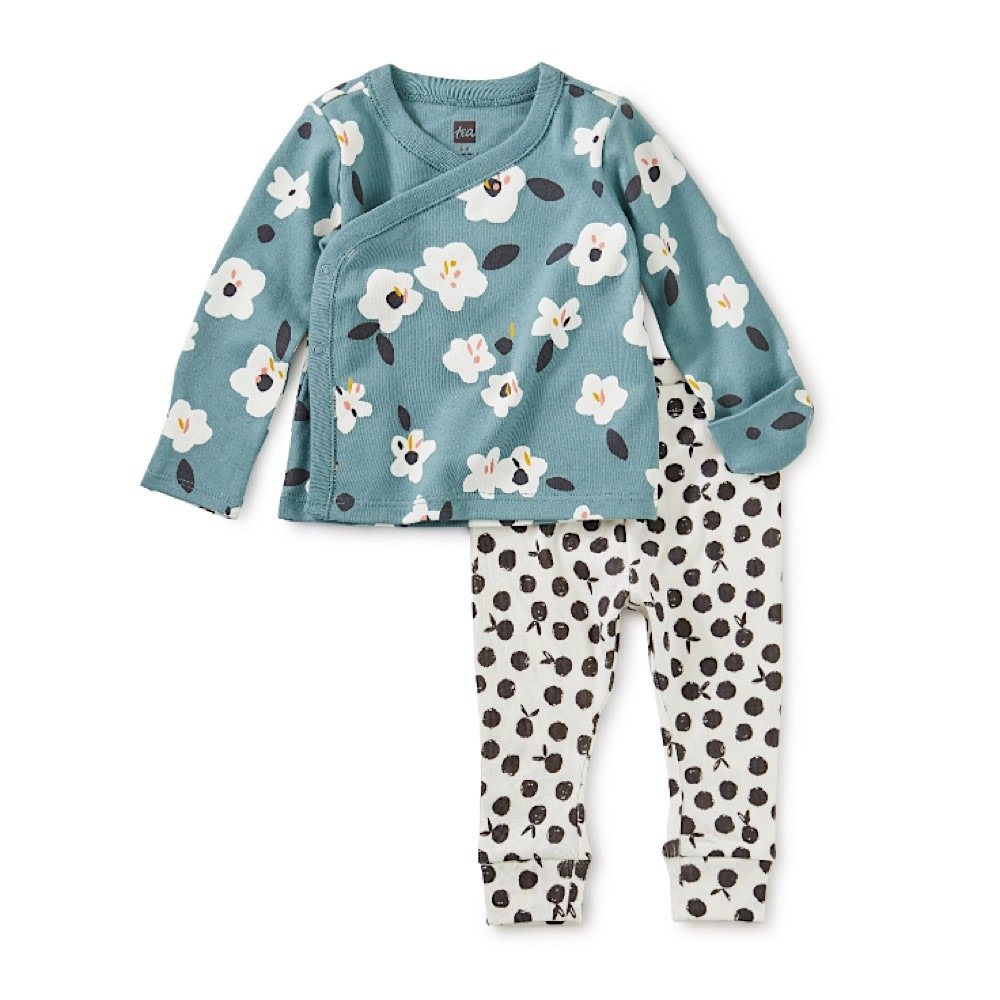 Tea Collection Wrap Top Baby Outfit - Flores Forever
