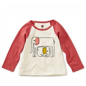 Tea Collection Tea Collection Mama Elephant Graphic Raglan Chalk 3-6M