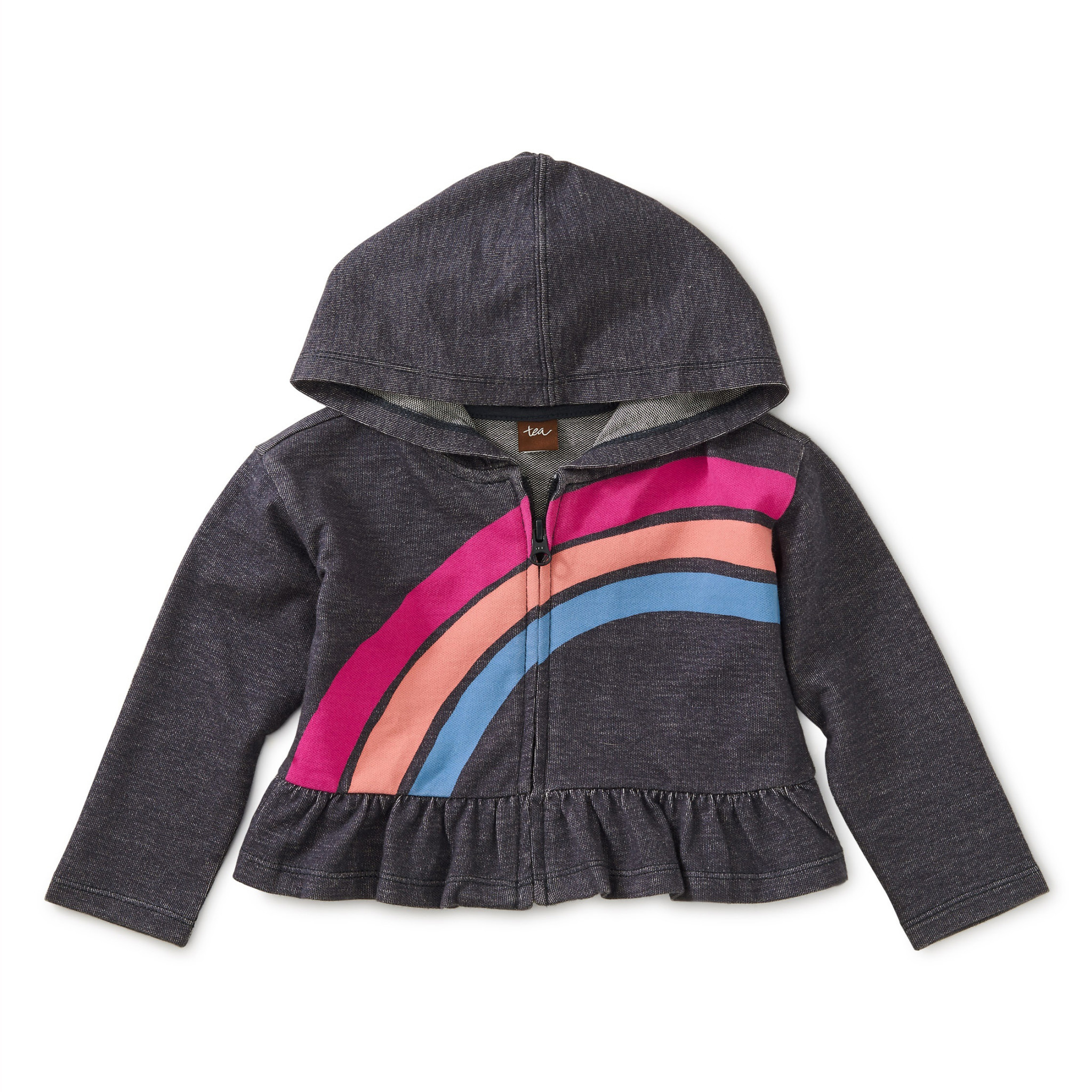 Tea Collection Tea Collection Rainbow Denim-Like Zip Hoodie 12-18m