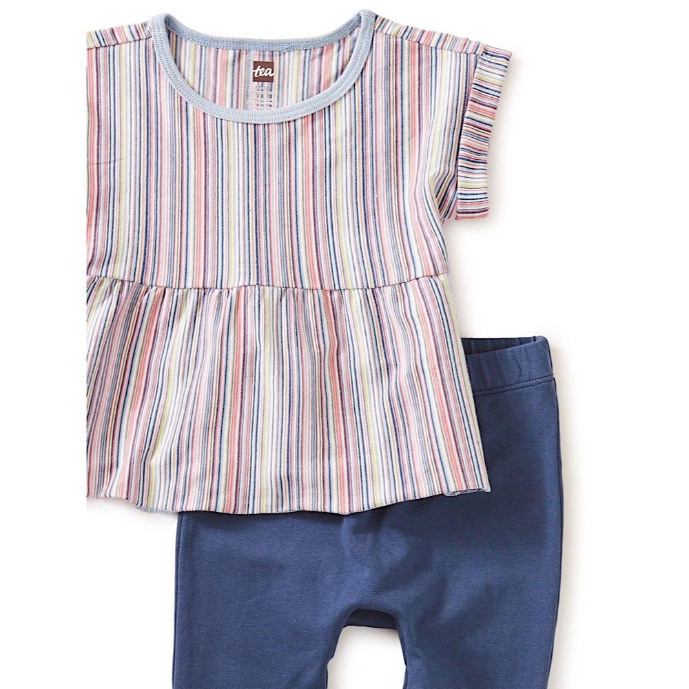 Tea Collection Multi Stripe Baby Set - Cloud