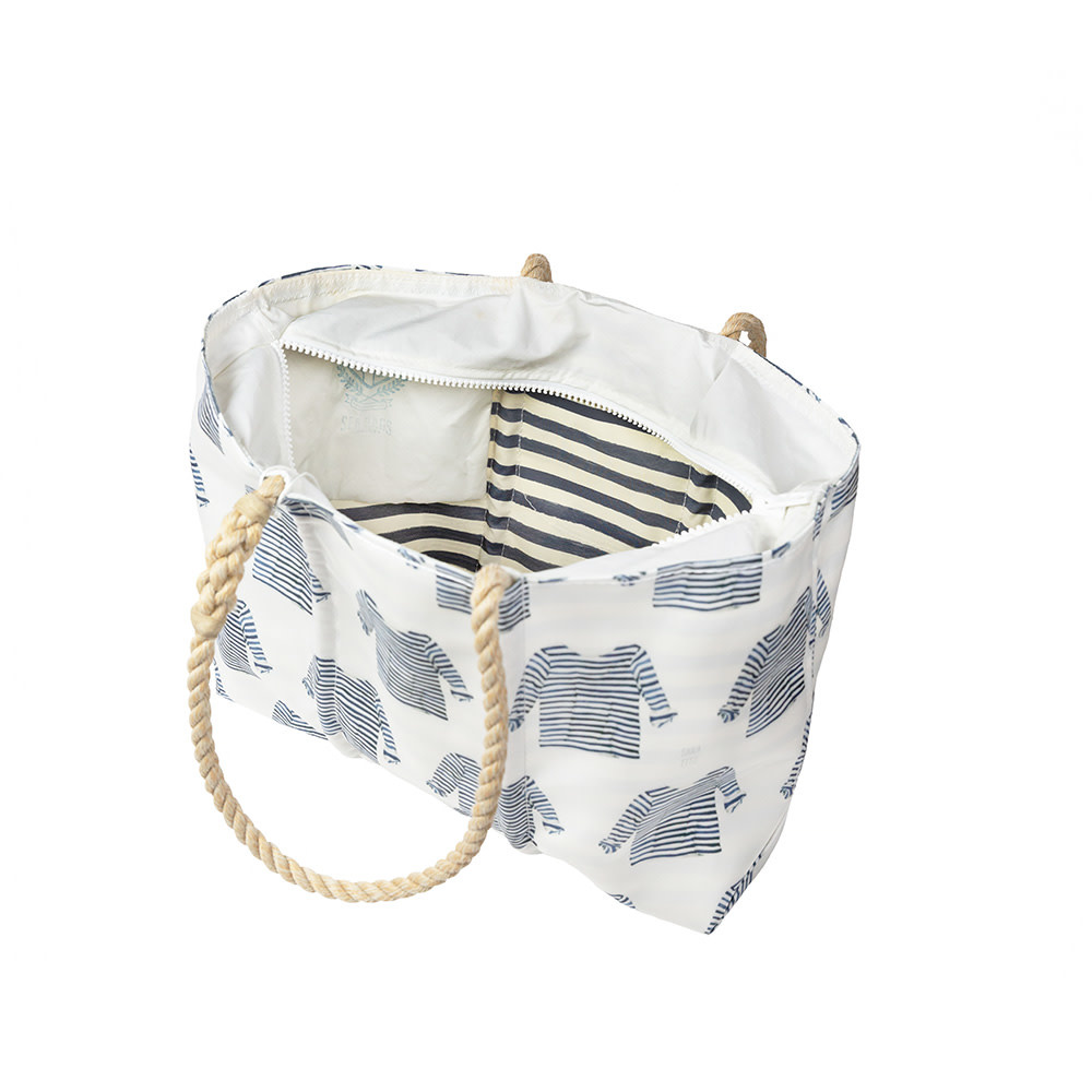 Sea Bags Sara Fitz - Striped Shirt - Large Tote - Hemp Handle with Zip Top