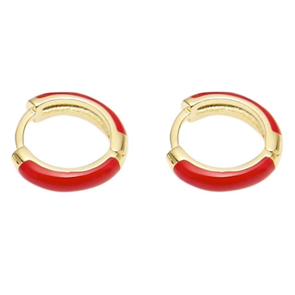 Machete - Huggie Hoop Earrings - Red