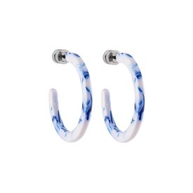 Machete Machete - Mini Hoop Earrings - Lavender Toile