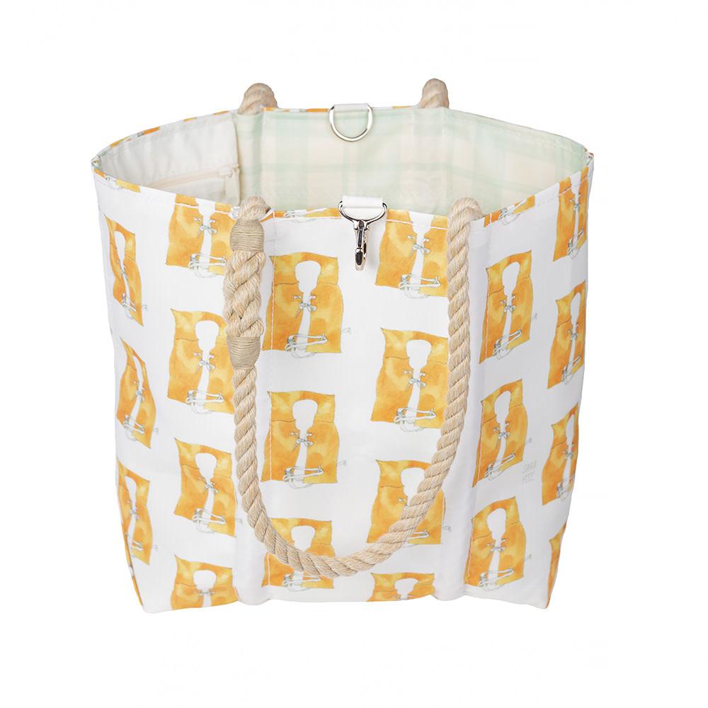 Sea Bags Sara Fitz - Life Jacket - Medium Tote - Hemp Handle with Clasp