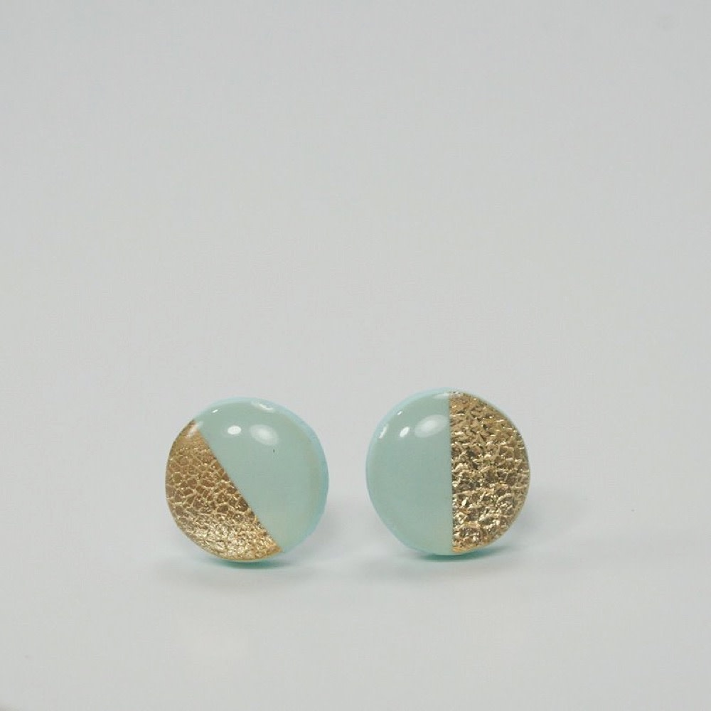 Clay N Wire Stud Earrings - Mint and Gold Split