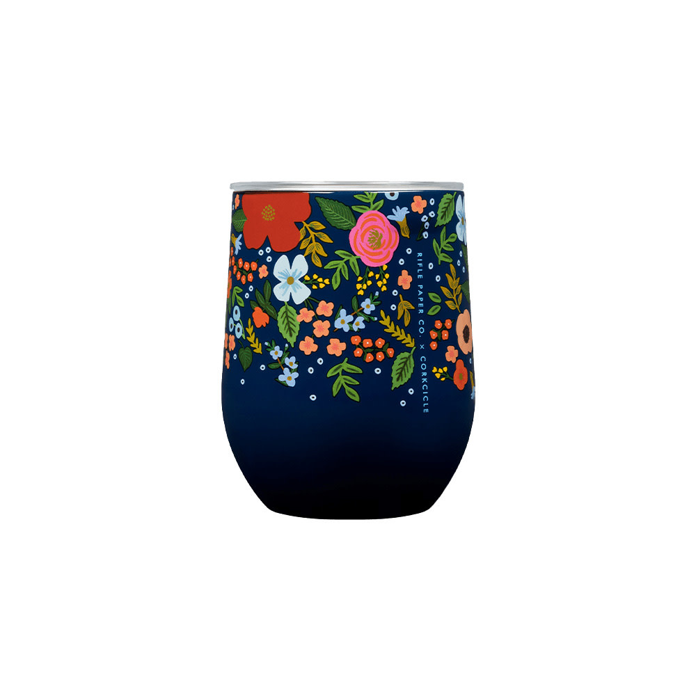 Corkcicle + Rifle Paper Stemless 12oz - Gloss Navy Wild Rose