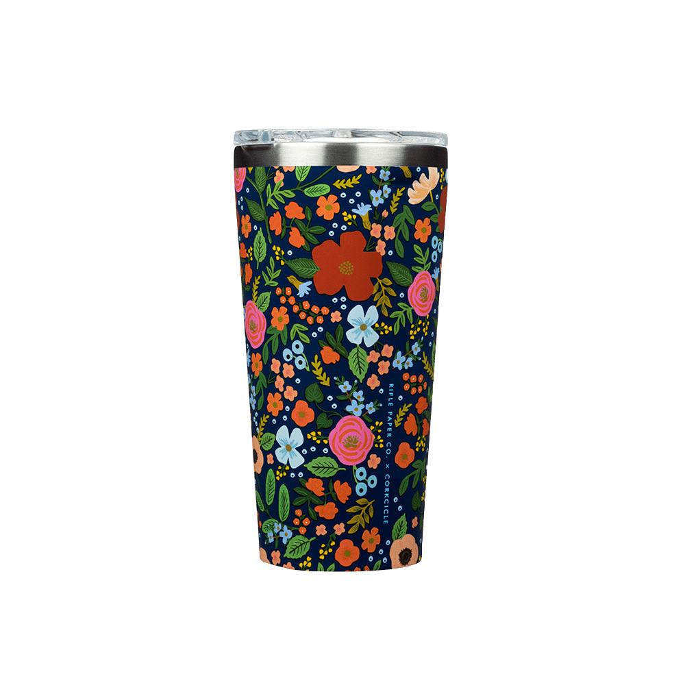 Corkcicle Corkcicle + Rifle Paper Tumbler 16oz - Gloss Navy Wild Rose