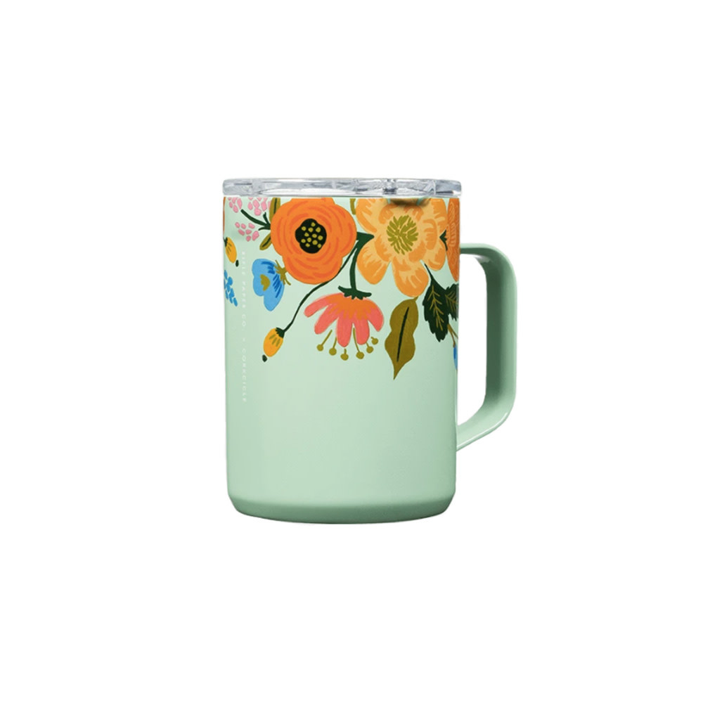 Corkcicle + Rifle Paper Mug 16oz - Gloss Mint Lively Floral