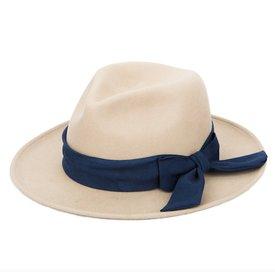 San Diego Hat Company Wool Felt Fedora - Camel With Navy Bow