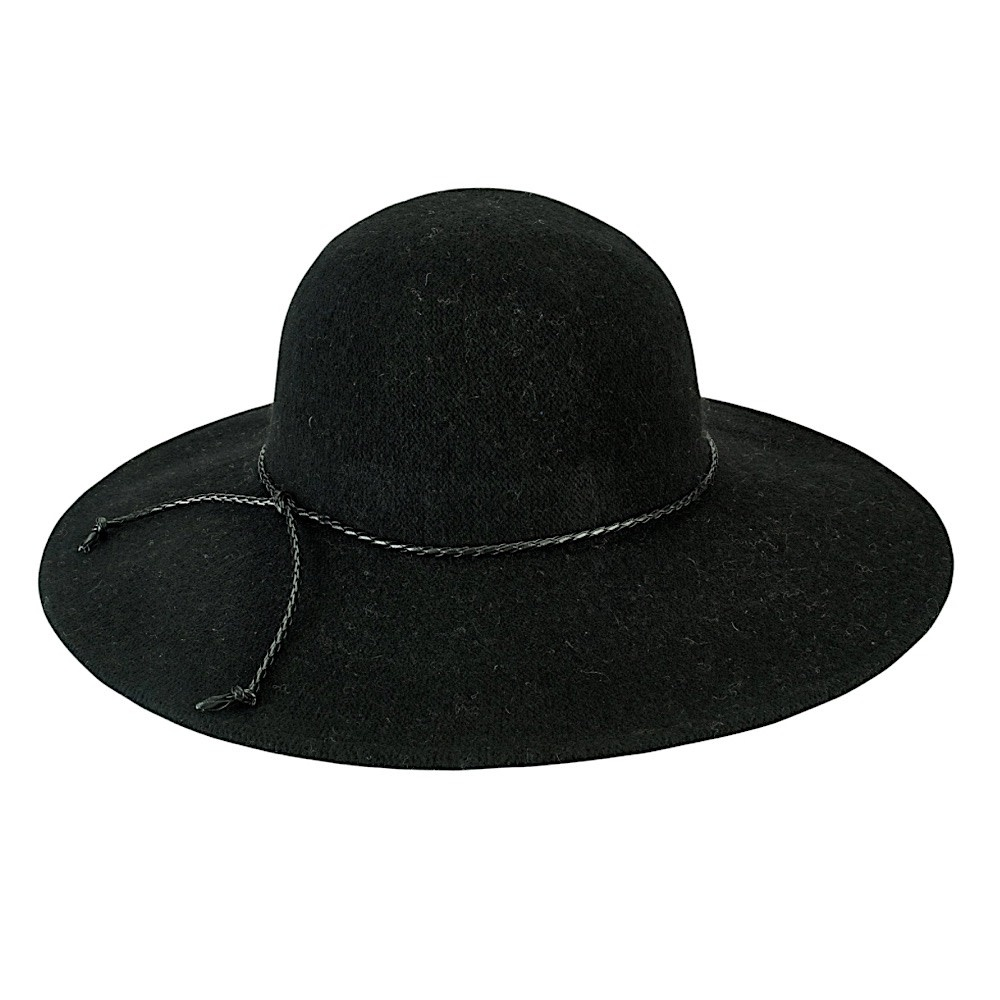 Wool Floppy Hat With Faux Leather Knot Trim - Black
