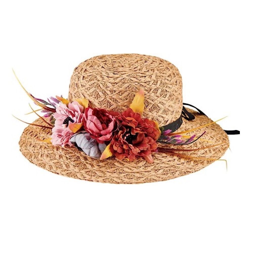 Kids Paper Braid Floppy Hat with Floral Garland