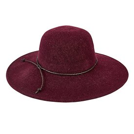 San Diego Hat Company Wool Floppy Hat With Faux Leather Knot Trim - Wine