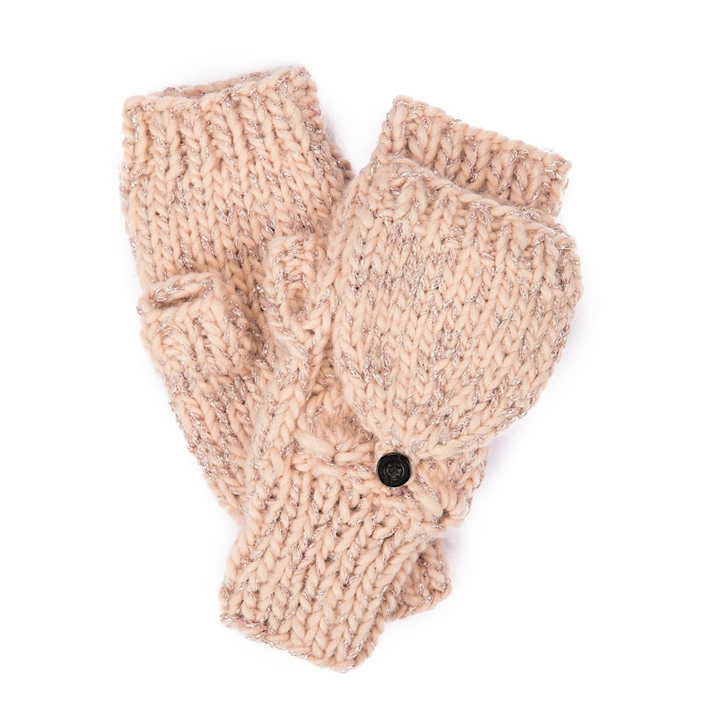 Women's Pop Over Gloves - Rose Gold Lurex