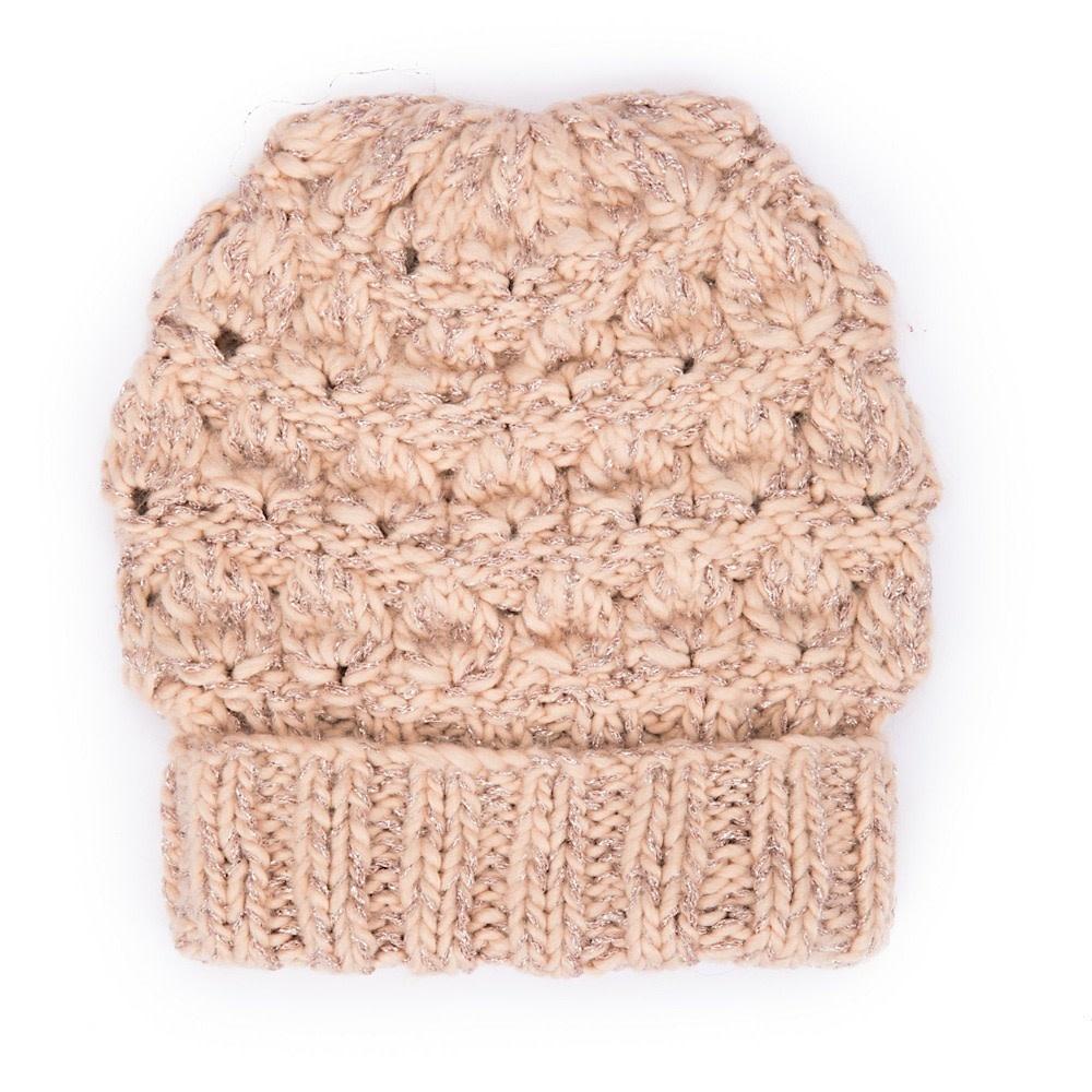 San Diego Hat Company Women's Beanie - Rose Gold Lurex