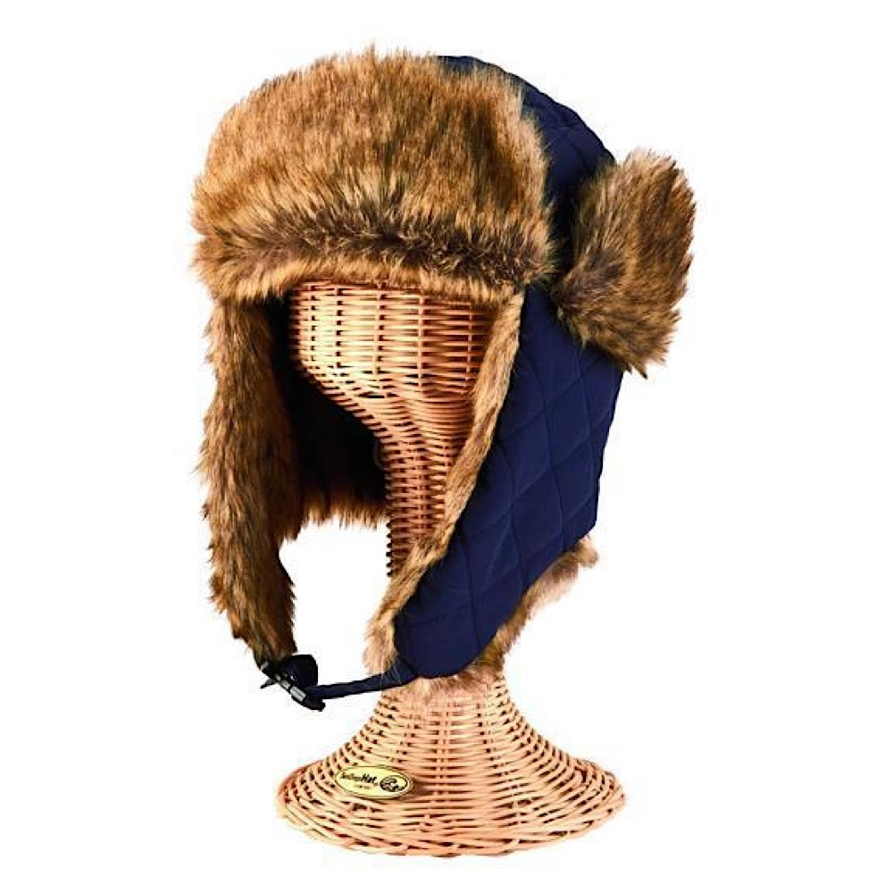 Quilted Trapper Hat - Faux Fur