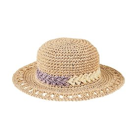 San Diego Hat Company Kid's Round Paper Crochet Sun Hat With Floral Motif- Natural - 5-7Y