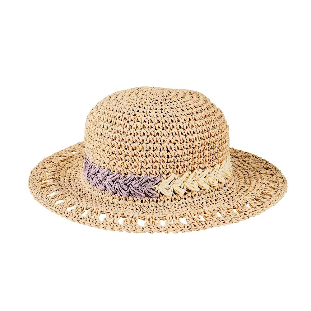 Kid's Round Paper Crochet Sun Hat With Floral Motif- Natural - 5-7Y