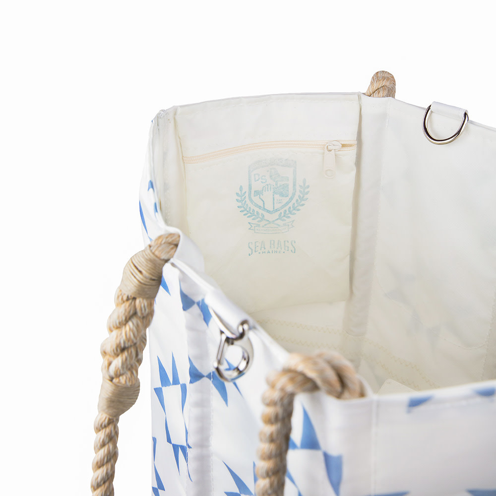 Sea Bags Sara Fitz - Blue Quilt - Medium Tote - Hemp Handle with Clasp