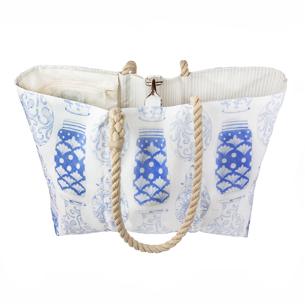 Sea Bags Sara Fitz - Nautical Ginger Jar - Large Tote - Hemp Handle with Clasp