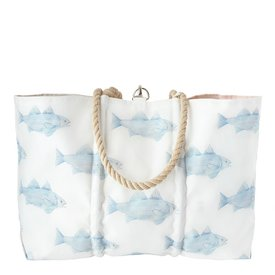 Sea Bags Sea Bags Sara Fitz - Blue Fish - Large Tote - Hemp Handle with Clasp