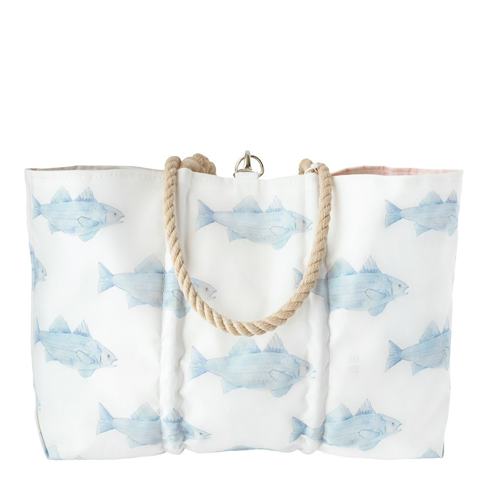 Sea Bags Sara Fitz - Blue Fish - Large Tote - Hemp Handle with Clasp