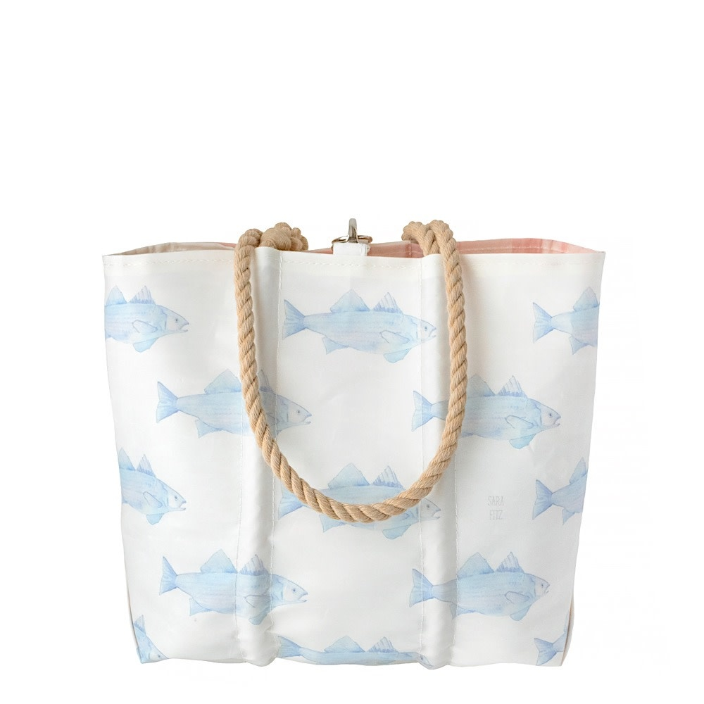 Sea Bags Sea Bags Sara Fitz - Blue Fish - Medium Tote - Hemp Handle with Clasp