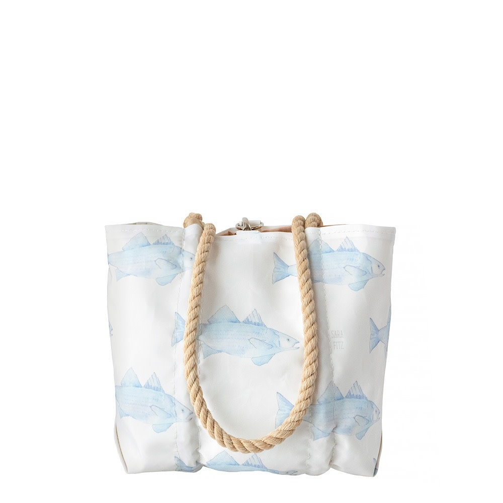 Sea Bags Sea Bags Sara Fitz - Blue Fish - Small Handbag Tote - Hemp Handle with Clasp