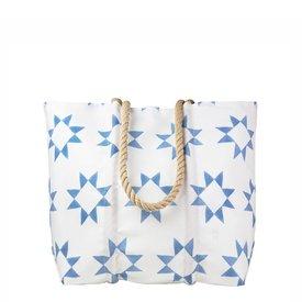 Sea Bags Sea Bags Sara Fitz - Blue Quilt - Medium Tote - Hemp Handle with Clasp